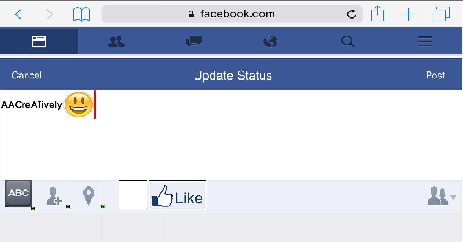 Facebook Status Screen